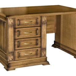 Прочный, долговечный и удобный в эксплуатации письменный стол Флоренция-1 изготавливается из экологичного природного материала - массива дерева. Представленный однотумбовый образец комплектуется четырьмя выдвижными ящиками, располагающимися в правой части изделия.
