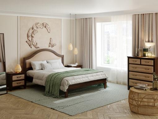Уютная и домашняя модель с романтичной формой из натурального дерева и мягким элементом в изголовье